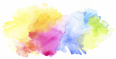 bright pastel rainbow colored watercolor paints and different colorful textures combined on white background