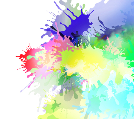 impression: Abstract colourful illustrated paint blots and splatter shapes and textures on white background. Paint runs enhance the impression of motion, creativity.