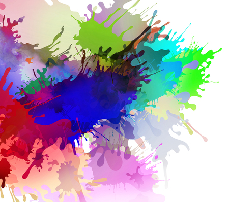 Abstract colourful illustrated paint blots and splatter shapes and textures on white background. Paint runs enhance the impression of motion, creativity.