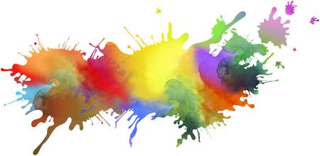추상 다채로운 페인트 오 점 및 튄 셰이프, 패턴 및 텍스처 흰색 배경에 고립. 페인트 런은 모션, 창의성의 인상을 향상시킵니다.