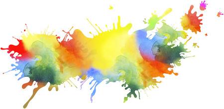 Abstract colourful illustrated paint blots and splatter shapes, pattern and textures isolated on white background. Paint runs enhance the impression of motion, creativity.
