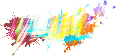Abstract colourful illustrated pastel paint blots and splatter shapes, pattern and textures isolated on white background. Paint runs enhance the impression of motion, creativity.