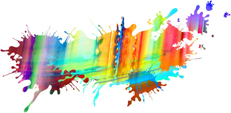 impression: Abstract colourful illustrated paint blots and splatter shapes, pattern and textures isolated on white background. Paint runs enhance the impression of motion, creativity.