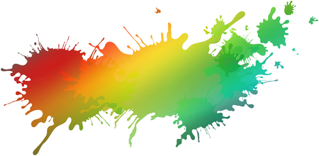 abstract rainbow colored illustrated paint blots and splatter shapes and splash textures on white background isolated