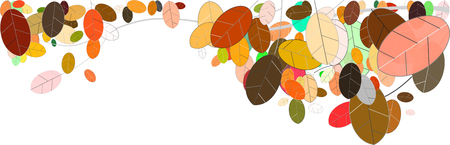 mostly: colorful autumn leaves illustration against white background in a panoramic view, mostly pastel colors, contrasting color values