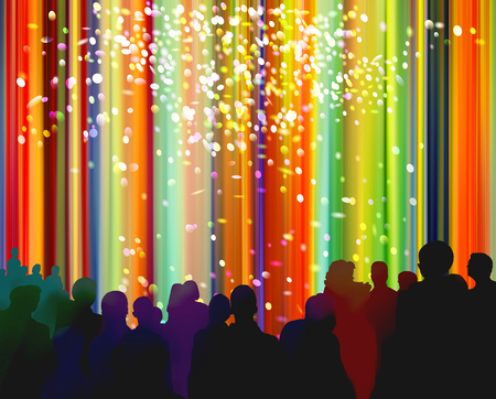 Silhouettes of people in front of a bright colorful curtain background with confetti shapes added