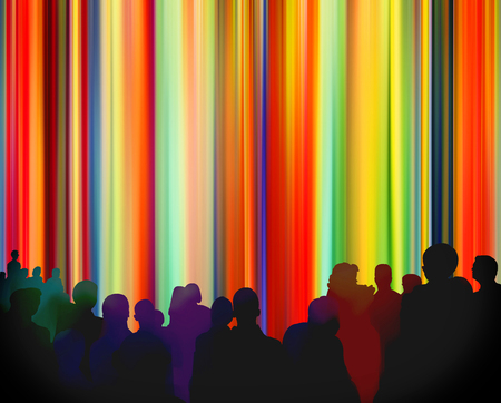 Silhouettes of people in front of a bright colorful curtain background