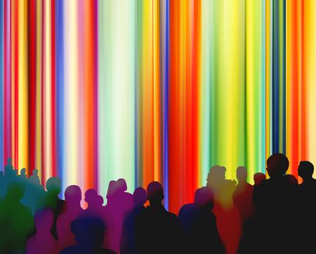 Silhouetten van mensen voor een heldere kleurrijke gordijnachtergrond
