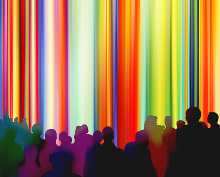 Silhouettes of people in front of a bright colorful curtain background 版權商用圖片 - 90310543