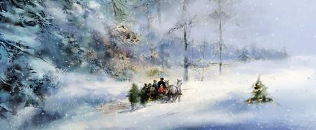 Joyeuse anticipation illustrée de l'Avent et de Noël, chevaux tirant famille traîneau transportant l'arbre de Noël à travers profondément la forêt d'hiver couverte de neige Banque d'images - 90321702