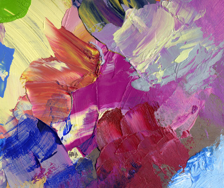 Thick, bright and opaque acrylic and oil paint strokes. Handmade, palette knife and paintbrush mixed media artwork. Concept, art, hobby, leisure, motion, creativity.