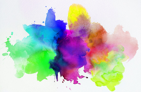 Bright rainbow colored watercolor paints and different colorful textures combined and isolated on white paper. Art, craft, creativity, concept, background. Фото со стока