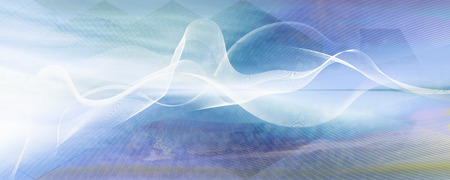 White curved motion lines and wave shapes on blue pastel gradient background. Contrasting blurred color values.