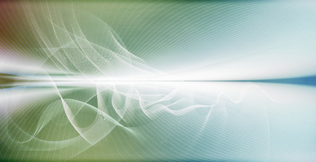 Abstract curved motion lines and wave shapes on blurred horizontal atmospheric space background. Imagens