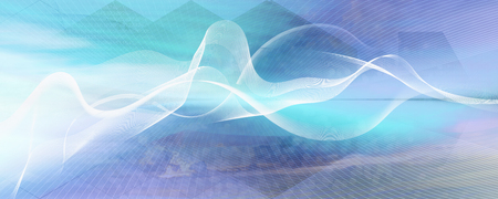 White curved motion lines and wave shapes on colorful gradient background. Contrasting blurred color values.