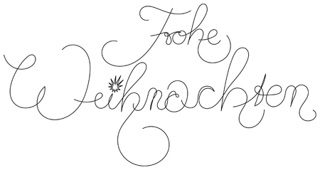 Christmas card design with vintage calligraphy style lettering on white. Merry Christmas in German.