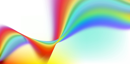 Abstract curved rainbow motion lines and wave shapes on white background. Colorful, movement, sign, banner, concept. Banco de Imagens