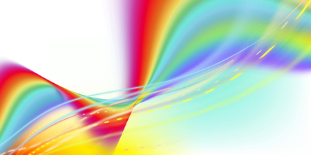 Abstract curved rainbow motion lines and wave shapes on white background. Colorful, movement, sign, banner, concept. Imagens