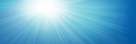 Illustrated rays of streaming sunlight on blue sky background. Summer, holiday, fun, banner, concept. Stock fotó