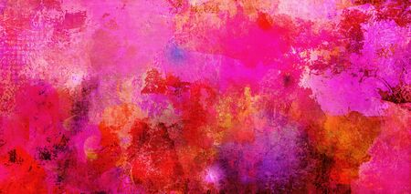 Abstract pink paint textures background created by using different photographs, scans and hand painted layers, acrylics and oils. Art, leisure, subdued, rough, backdrop, banner, panorama.