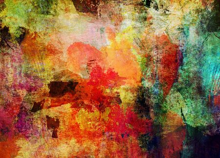 Abstract paint textures background created by using different photographs, scans and hand painted layers, acrylics and oils. Art, leisure, subdued, rough, backdrop.