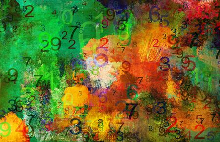 Abstract paint and numbers textures background created by using different photographs, scans and hand painted layers, acrylics and oils. Art, leisure, subdued, rough, backdrop, banner, panorama. Stock fotó