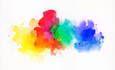 Bright rainbow colored watercolor paints and different colorful textures combined and isolated on white paper. Art, craft, creativity, concept, background. Stock fotó