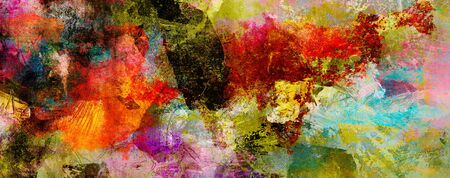 Abstract paint textures background created by using different photographs, scans and hand painted layers, acrylics and oils. Art, leisure, subdued, rough, backdrop, banner, panorama.