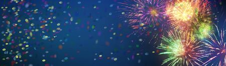 Stars and lights pattern of bright colorful fireworks with colorful stars, circles and confetti shapes added. Festive background banner.