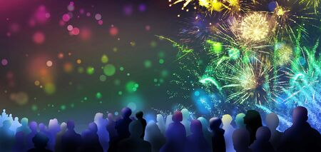 stars and lights pattern of bright sparkling fireworks with stars and circle shapes and illustrated spectator silhouettes 版權商用圖片