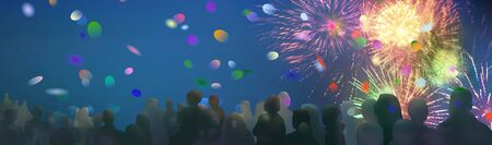 stars and lights pattern of bright sparkling fireworks with stars and circle shapes and illustrated spectator silhouettes and confetti added 版權商用圖片