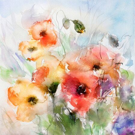 A bunch of red and light orange poppies painted in watercolor on white paper. Wet-in-wet technique. Reklamní fotografie