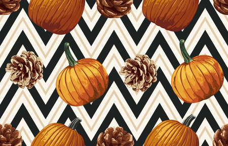 Vintage seamless autumn pattern background with pine cones and pumpkins. Botanical wallpaper, raster illustration in super High resolution. Banco de Imagens