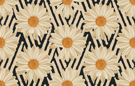 Vintage seamless autumn pattern background with daisies. Botanical wallpaper, raster illustration in super High resolution.