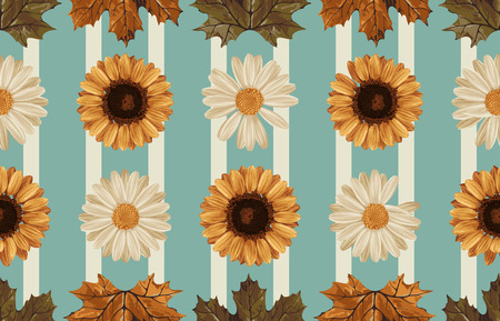 Vintage seamless autumn pattern background with sunflower, daisies, and leaves. Botanical wallpaper, raster illustration in super High resolution.