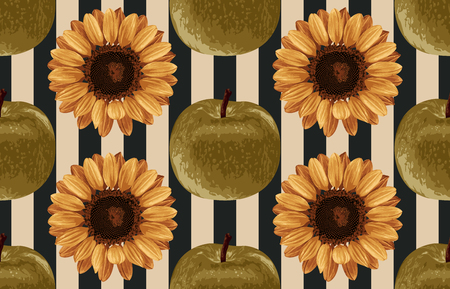 Printable seamless vintage autumn repeat pattern background with green apples and sunflowers. Botanical wallpaper, raster illustration in super High resolution.