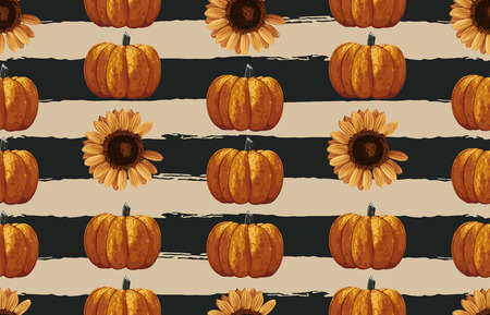 Vintage seamless autumn pattern background with sunflower and pumpkins. Botanical wallpaper, raster illustration in super High resolution.