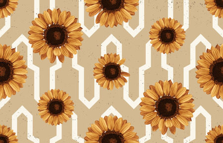 Vintage seamless autumn pattern background with sunflowers. Botanical wallpaper, raster illustration in super High resolution.