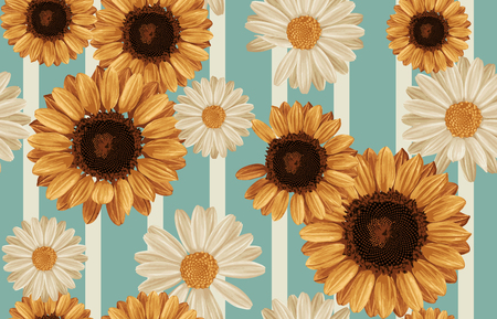 Printable seamless vintage autumn repeat pattern background with daisies and sunflowers. Botanical wallpaper, raster illustration in super High resolution. Stock Photo