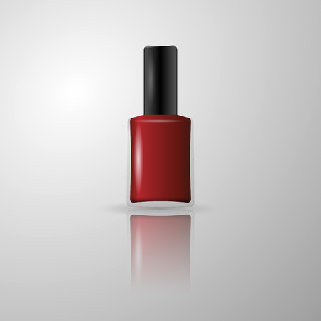 nail polish bottle: Red nail polish in a glass bottle
