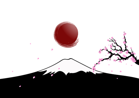 rises: The sun rises over Mount Fujiyama with cherry blossoms . Mount Fuji