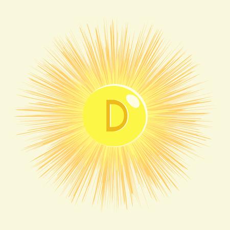 organic chemistry: Vitamina del sol d sobre un fondo amarillo Vectores