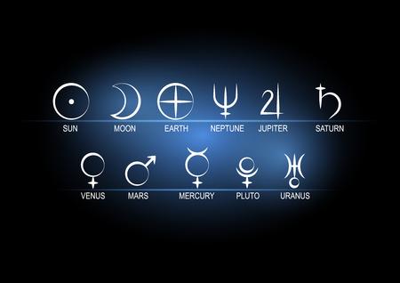 Définir des symboles astronomiques de planètes blanches sur noir avec fond bleu.