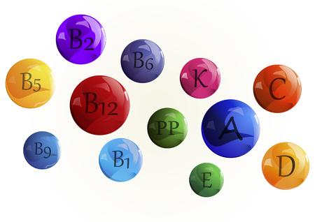 ascorbic: Vector image. Vitamins set. Vitamin A Retinol B complex C Ascorbic acid D Calciferol E Tocopherol acetate K naphthoquinone , PP nicotinic acid