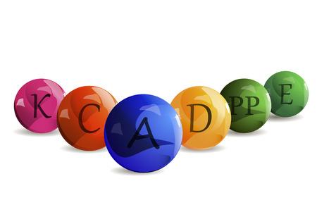 ascorbic acid: Colorful set of the colored bubble vitamins