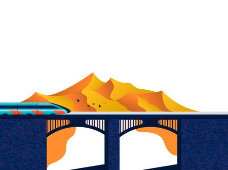 Train on the bridge  イラスト・ベクター素材