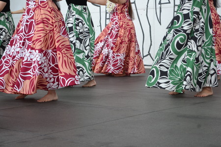 skirts: a lot of skirts of dance the hula