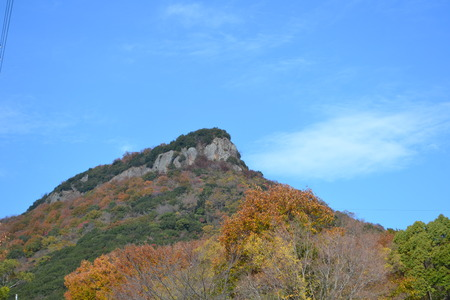 色のもみじの山 写真素材