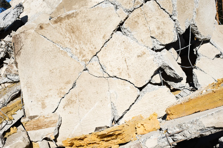 Detail of a collapsed wall at a building demolition site. Stok Fotoğraf