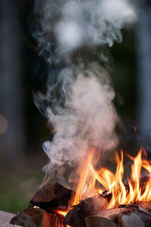 Burning campfire, flames and smoke